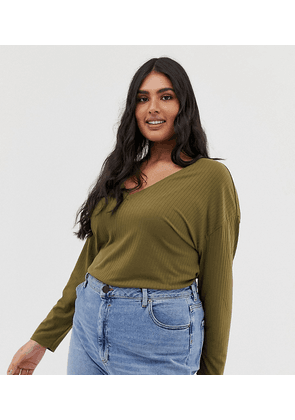 ASOS DESIGN Curve oversized tunic with v-neck in khaki-Green