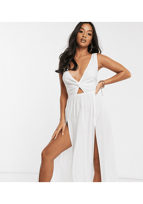 ASOS DESIGN PETITE tie back beach maxi dress with twist front detail in white