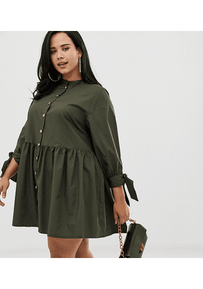 ASOS DESIGN Curve grandad collar button through mini smock dress with tie sleeve-Green