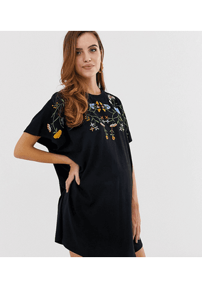 ASOS DESIGN Maternity embroidered oversized t-shirt dress in black