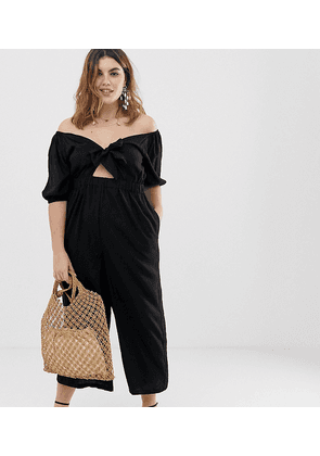 ASOS DESIGN Curve tea jumpsuit with puff sleeve and tie detail-Black