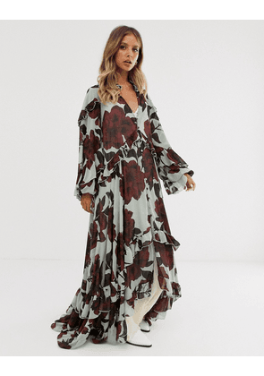 Free People hearts run wild floral maxi dress-White