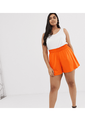 ASOS DESIGN Curve shorts with shirred waist-Orange