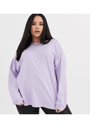 ASOS DESIGN Curve oversized long sleeve t-shirt in ice lilac-Purple
