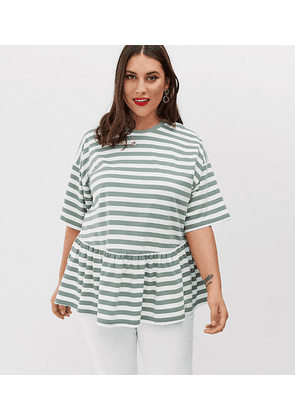 ASOS DESIGN Curve smock on washed khaki stripe-Green