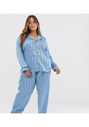 ASOS DESIGN Curve satin stripe pyjama trouser set-Blue