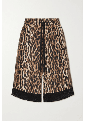 Twin Fantasy - Lace-trimmed Leopard-print Stretch-jersey Shorts - Brown