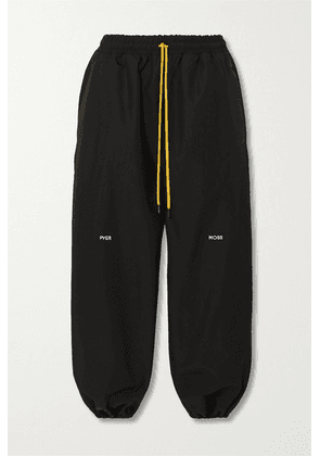Pyer Moss - Cropped Embroidered Shell Track Pants - Black