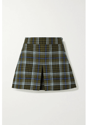 Tibi - Spencer Pleated Checked Woven Shorts - Army green