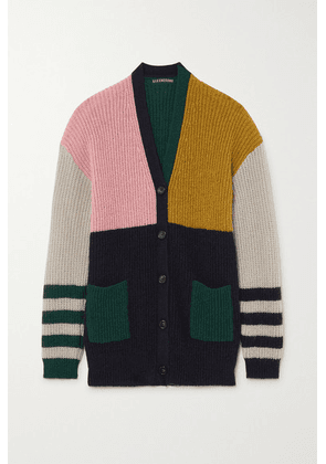 ALEXACHUNG - Nora Color-block Ribbed-knit Cardigan - Dark green
