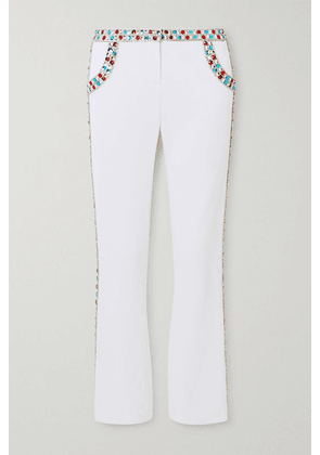Balmain - Cropped Crystal-embellished Stretch-crepe Flared Pants - White