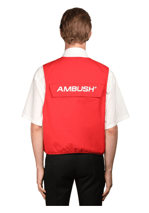 Logo Multi-pocket Cotton Utility Vest