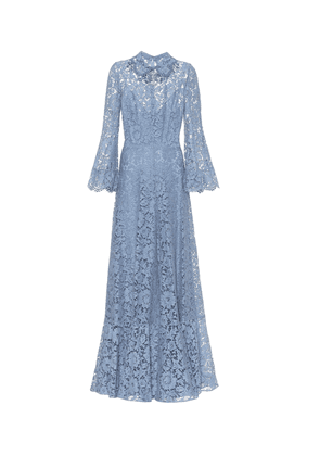 Embellished floral-lace gown