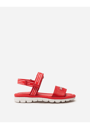 Dolce & Gabbana Shoes - BEACHWEAR SANDALS IN CALFSKIN WITH RIBBON LOGO RED/WHITE
