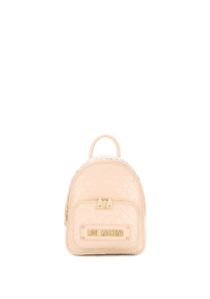 Love Moschino faux leather quilted backpack - NEUTRALS