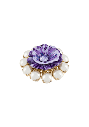 Dolce & Gabbana floral embellished ring - PURPLE