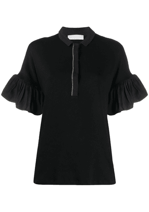 Fabiana Filippi frill sleeve polo top - Black