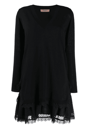 Twin-Set broderie anglaise knitted flounce dress - Black