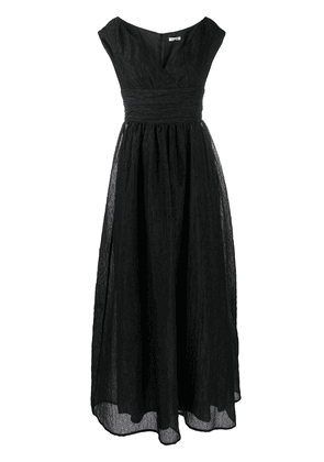 P.A.R.O.S.H. V-neck ruched waistband silk gown - Black
