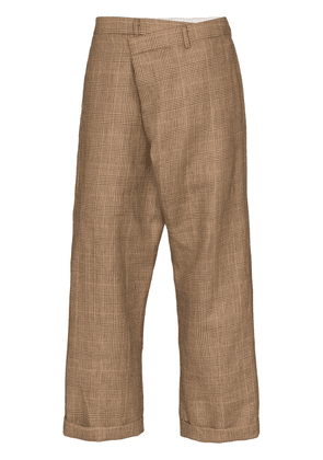 R13 crossover plaid trousers - Brown
