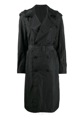 Neil Barrett frayed double-breasted trench coat - Black