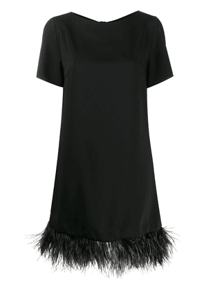 P.A.R.O.S.H. feather-embellished mock neck dress - Black