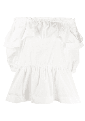 P.A.R.O.S.H. off the shoulder ruffled trim blouse - White