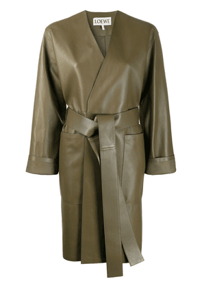 Loewe belted leather coat - Green