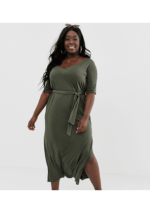 ASOS DESIGN Curve soft touch belted maxi dress-Green