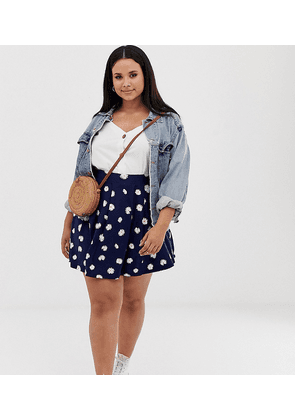 ASOS DESIGN Curve mini skirt with box pleats in navy daisy print-Multi