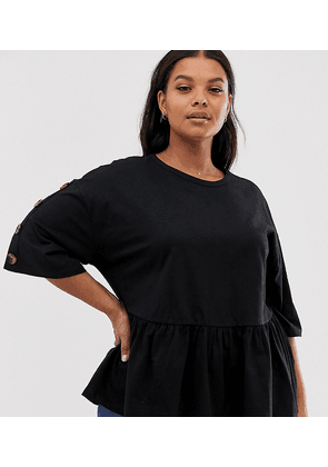 ASOS DESIGN Curve smock top with tortoishell button-Black