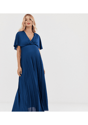 ASOS DESIGN Maternity cape back detail pleated maxi dress-Navy