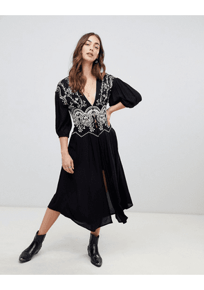 Free People Highline Skyline embroidered maxi top-Black