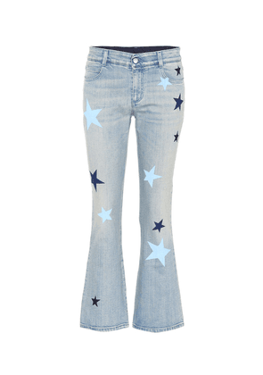 Star-printed flared jeans