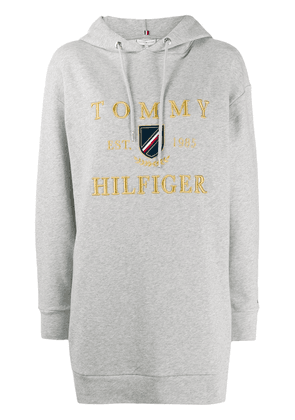 Tommy Hilfiger logo embroidered long hoodie - Grey
