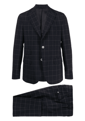 Eleventy single breasted window pane check suit - Blue