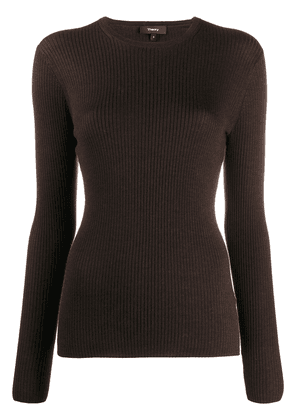 Theory ribbed fitted jumper - Brown
