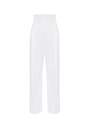 High-rise cotton straight pants