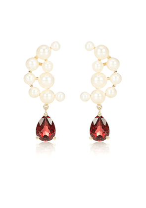 Blood sisters 14kt-gold pearl and garnet earrings