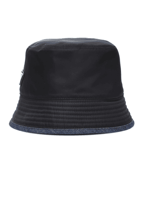 Denim-trimmed nylon bucket hat