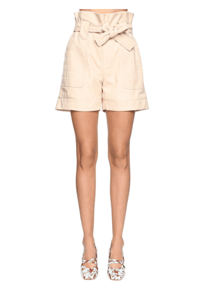 Croc Embossed Leather Shorts
