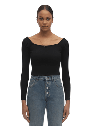Chain & Off-the-shoulder Knit Nylon Top