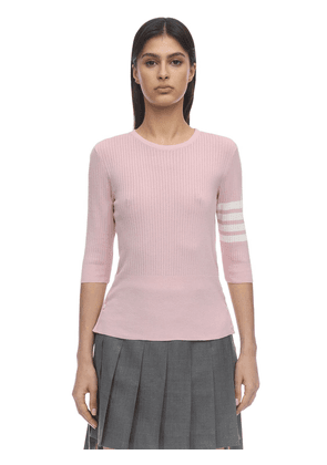 3/4 Sleeves Silk & Cotton Knit Sweater