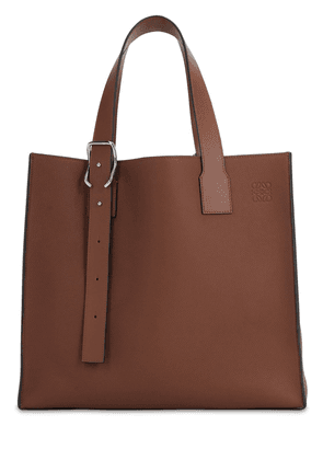 Buckle Leather Tote Bag