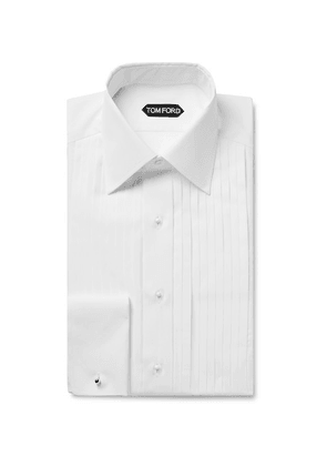 TOM FORD - White Slim-fit Bib-front Double-cuff Sea Island Cotton Shirt - White