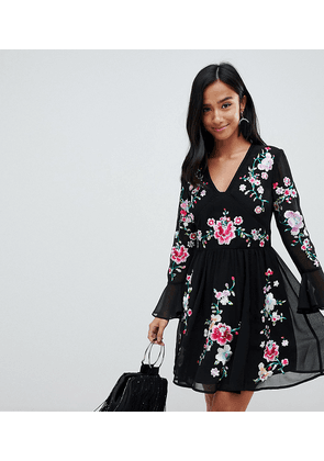 ASOS DESIGN Petite embroidered mini dress with lace trims-Black
