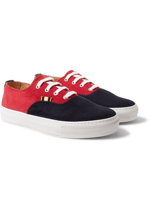 Aprix - Two-tone Corduroy Sneakers - Red