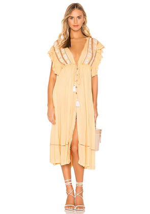 Free People Will Wait For You Midi Dress in Yellow. Size S.