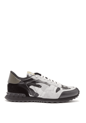 Valentino - Rockrunner Camouflage Leather And Suede Trainers - Mens - Grey Multi