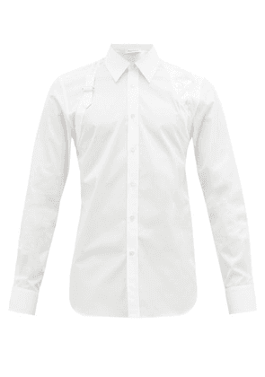 Alexander Mcqueen - Floral-embroidered Cotton Poplin Harness Shirt - Mens - White